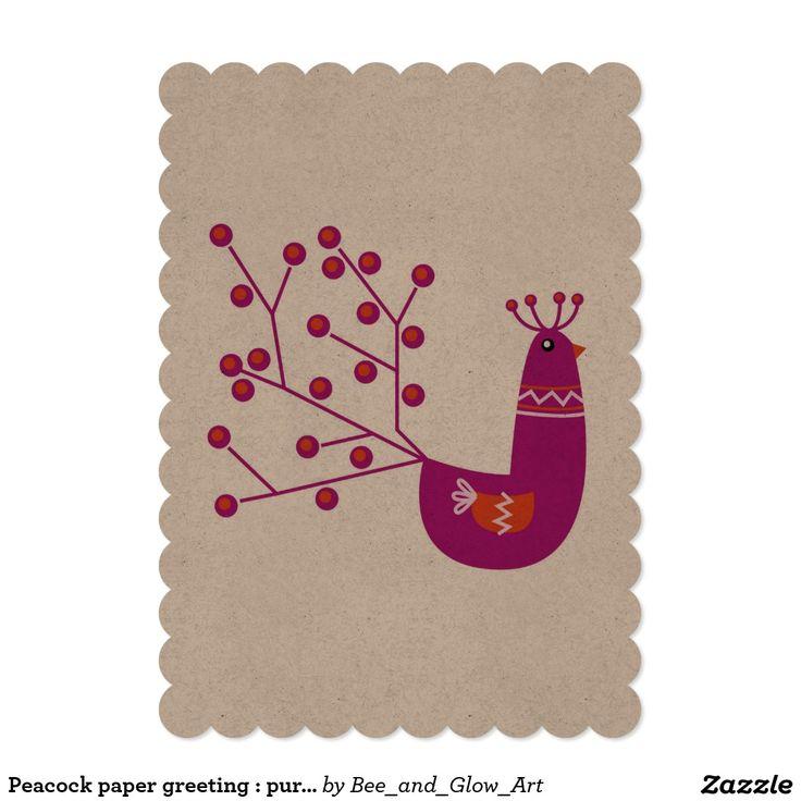 Peacock paper greeting : purple
