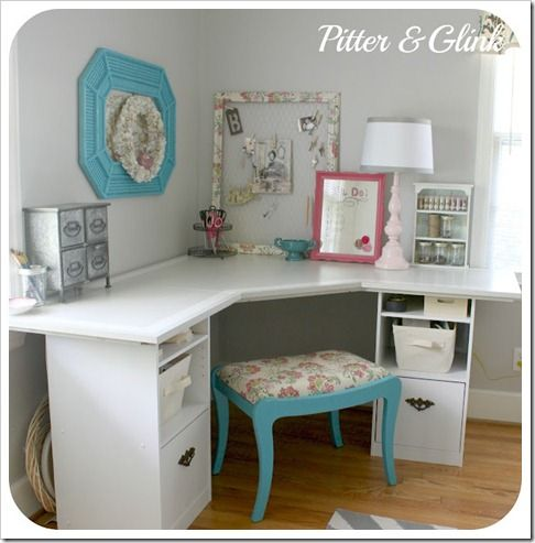 A corner table can make a great craft/ study station or office area