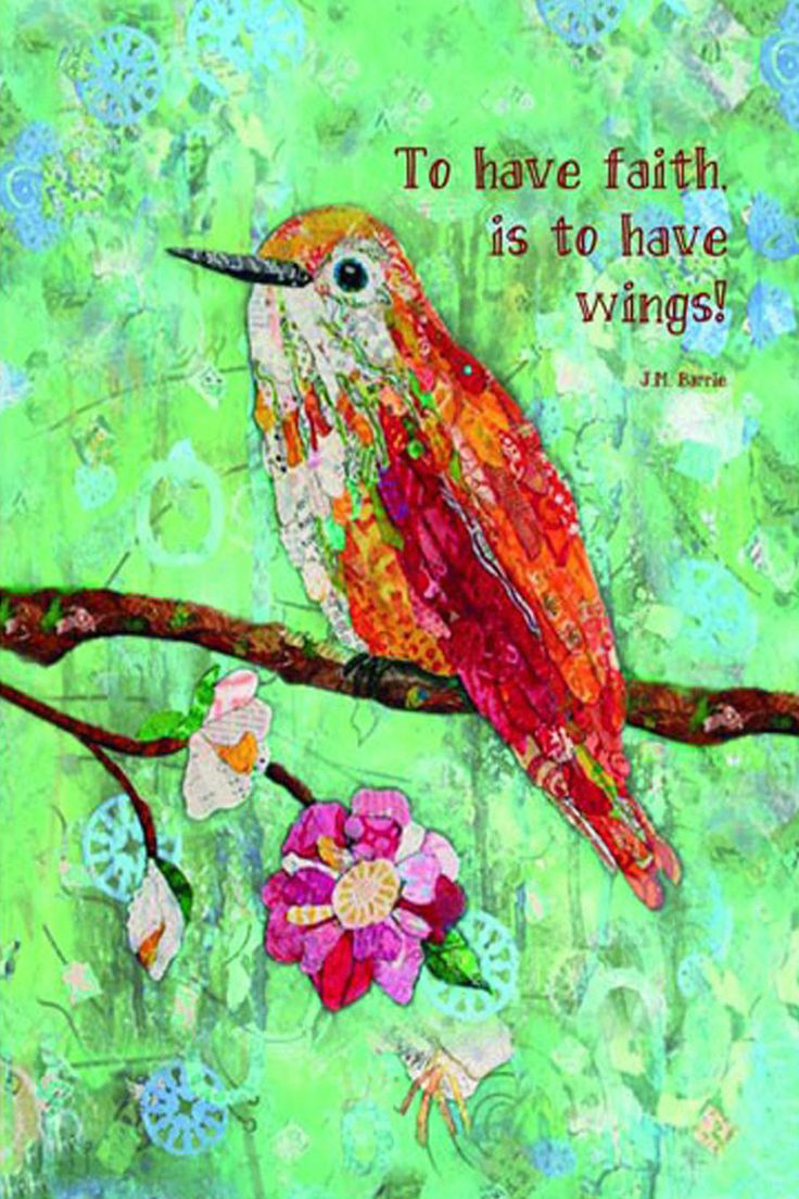 "These colorful hummingbird cards have this quote - ""To have faith is to have wings!"" These come in packages of 6. These cards are 5 x 7."