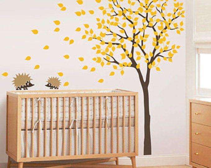 """Baby Nursery adesivi murali - Wall Decal - decalcomania albero - albero, Hedgehog decalcomania - grande: circa 79 """"x 85"""" - KC004"""