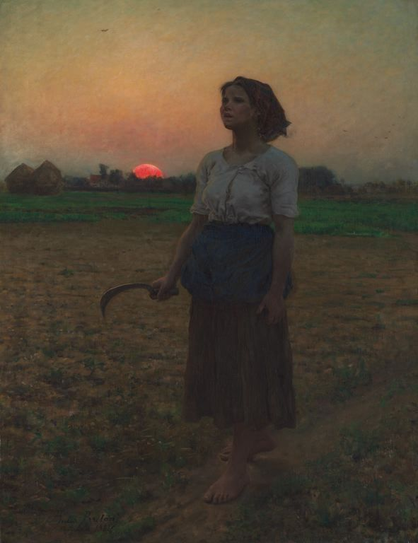 Jules Adolphe Breton  French, 1827-1906, The Song of the Lark.  I spent some time recently in some of the galleries I don't visit as often, was struck by this painting.  It seems to be showing some moment of exasperation, or melancholy- not sure what it is about but the mood with the sunset and the sickle in her hand is mysterious and outstanding!