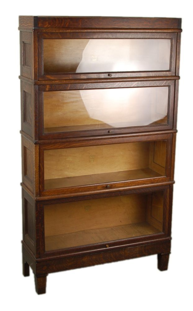 Macy vintage oak 4 stack barrister bookcase with paneled for Stacking bookcase plans