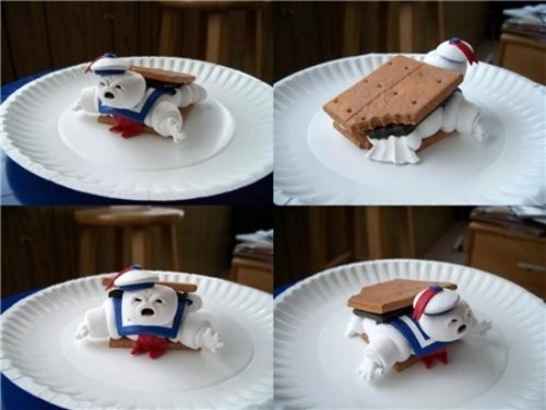 Stay Puff man from Ghostbusters melted on a S'more! too cute!