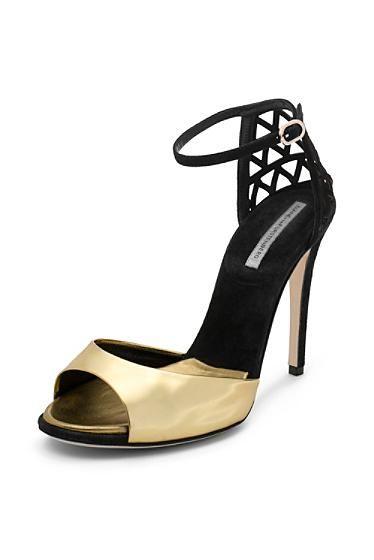 Rowan Peep Toe Heel In Gold Specchio, Black Suede