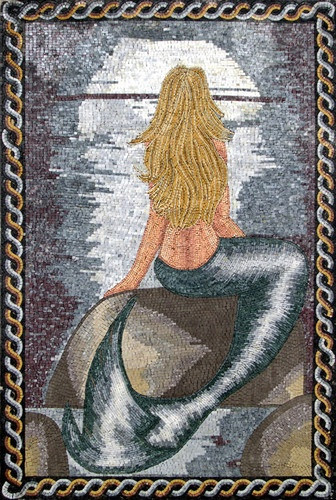 Mermaid Sea Handmade Mosaic Tiles Stone Art Wall Mural | eBay