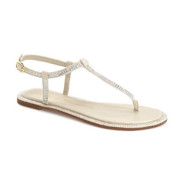 Athena Alexander 'Chique' Crystal Embellished Flat Sandal (73 CAD) ❤ liked on Polyvore featuring shoes, sandals, white faux leather, strappy flat sandals, strappy sandals, strap sandals, white shoes and athena alexander sandals