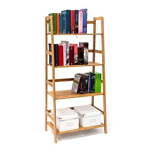 Relaxdays Bücherregal Aus Bambus Mit 4 Ablagen HxBxT: Ca. 120 X 57 X 31