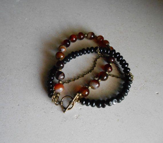 Boho Bracelet Red Agate Bracelet Black Agate Bracelet