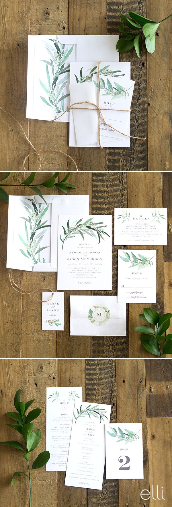 Gorgeous lush greenery wedding invitation suite