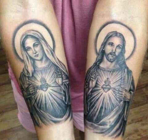 Tatouage vierge marie et jesus for Holy mary tattoo