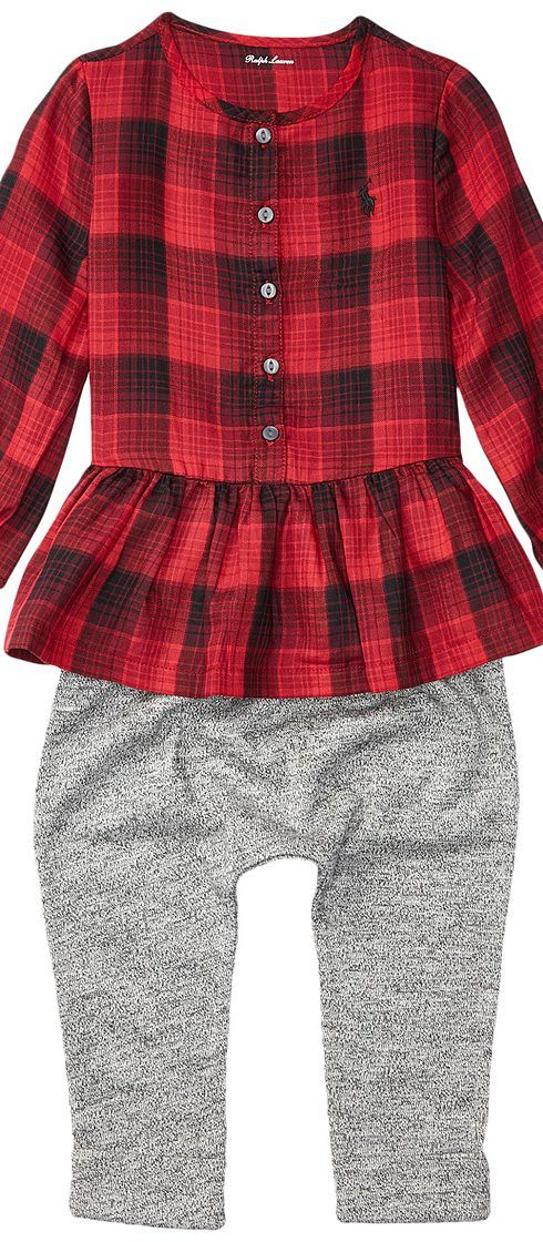 Ralph Lauren Baby Yarn-Dyed Cotton Gauze Peplum Pants Set (Infant) (Red/Black) Girl's Active Sets - Ralph Lauren Baby, Yarn-Dyed Cotton Gauze Peplum Pants Set (Infant), 310629504001-600, Apparel Sets Active, Active, Sets, Apparel, Clothes Clothing, Gift, - Fashion Ideas To Inspire