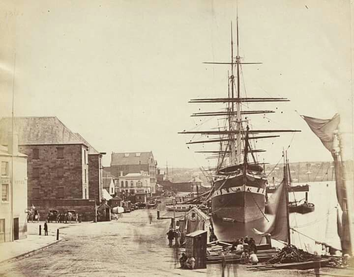 Circular Quay from Pitt St in Sydney in the 1870s.The ship in the photo is the Sobraon.In the 1890s it was a nautical training school that was set up as a reformatory training school designed to rehabilitate destitute boys.Photo from National Archives of the United Kingdom.