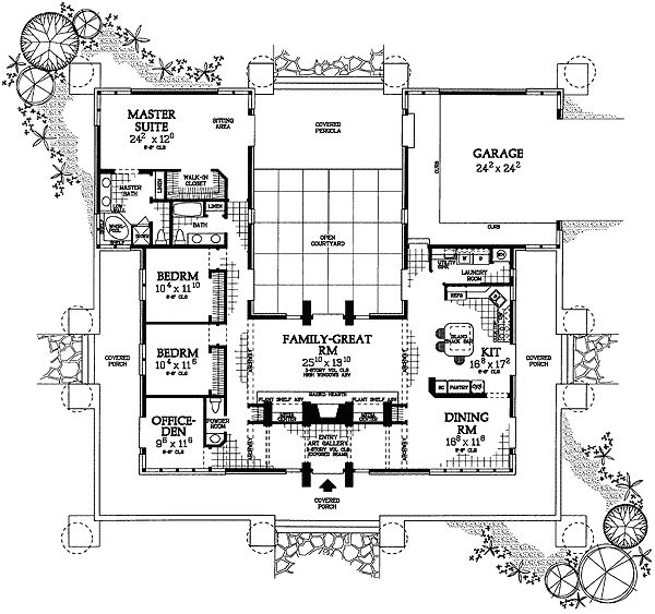 Prairie Style With Courtyard House Floor Plans