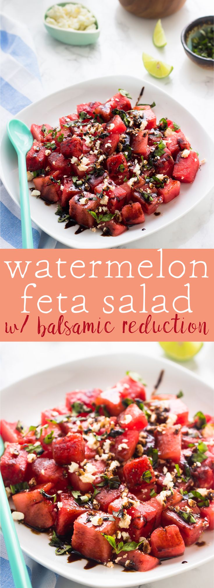 This Watermelon Feta Salad is fresh, juicy and drizzled with a delicious balsamic reduction. It's made in just 15 minutes! via http://jessicainthekitchen.com