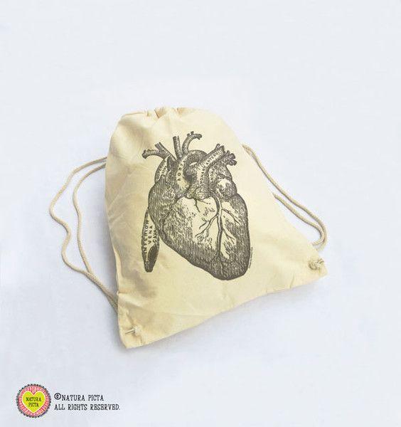 Borse a tema - zainetto di cotone cuore umano vintage-NGS010 - un prodotto unico di NATURAPICTA su DaWanda