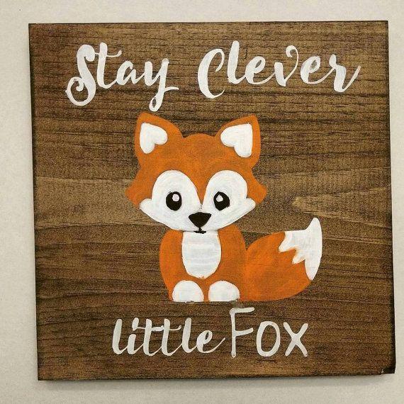 clevere kleine Fuchs Schilder, Waldland Kinderzimmer Dekor Wandkunst, Hand Wald Tier Kreaturen, Baby-Dusche-Geschenk, rustikale Holz, Holz-Plakette