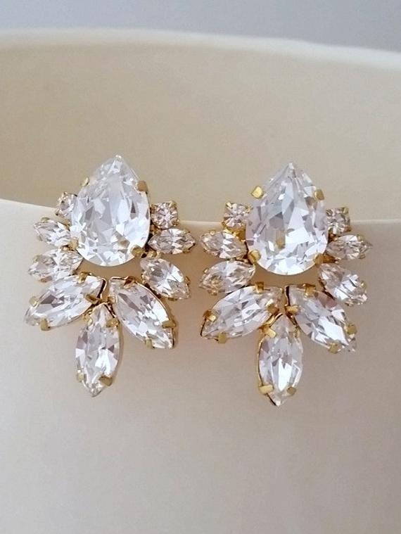 Bridal Crystal Earringsbridal Stud Earringslarge Bridal Etsy Crystal Bridal Earrings Bridal Earrings Studs Bridal Earrings Drop