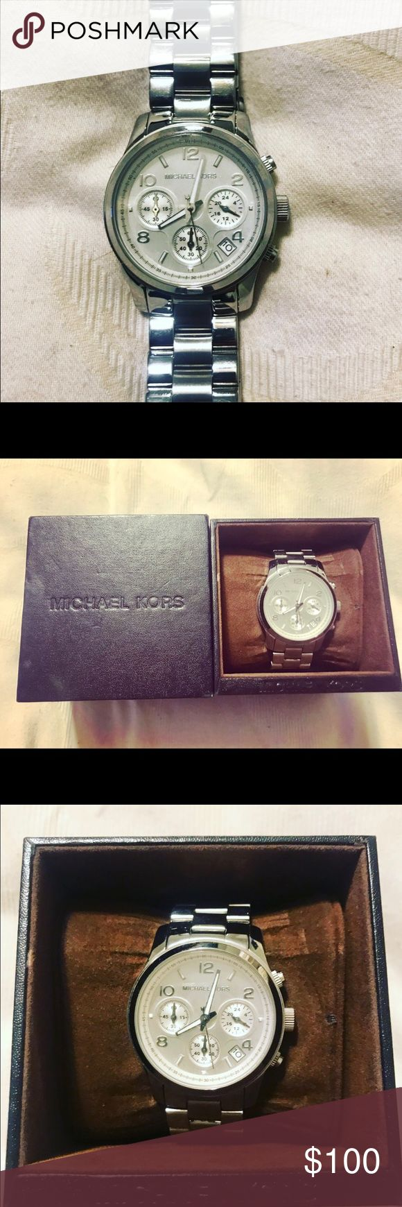 Michael Kors MK5076 Silver Chronograph Watch Used Michael Kors MK5076 Silver Chronograph Watch. PRICE IS FIRM.  Normal wear and will need a new battery.  Comes with box and extra links. Michael Kors Accessories Watches