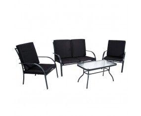 www.sconticasa.it  Set sofà Pandora con struttura in acciaio composto da : un divanetto,due poltrone e un tavolino con vetro temperato  Sia la seduta che lo schienale presentano cuscini imbottiti  Colore Nero