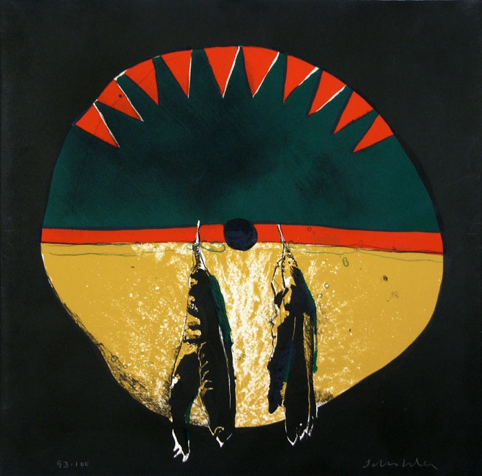 Southern Plains Shield  Fritz Scholder,  Lithograph / color    tribal>>> shamanistic>>> otherworldly beings (I have a very associative thought process)