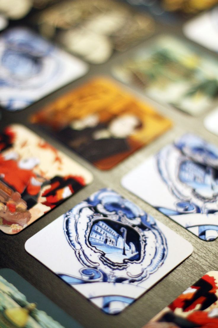 moocards by Anna Sokolova (Plushbrush), delft blue style