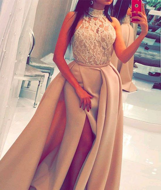 Champagne lace long prom dress, champagne evening dress