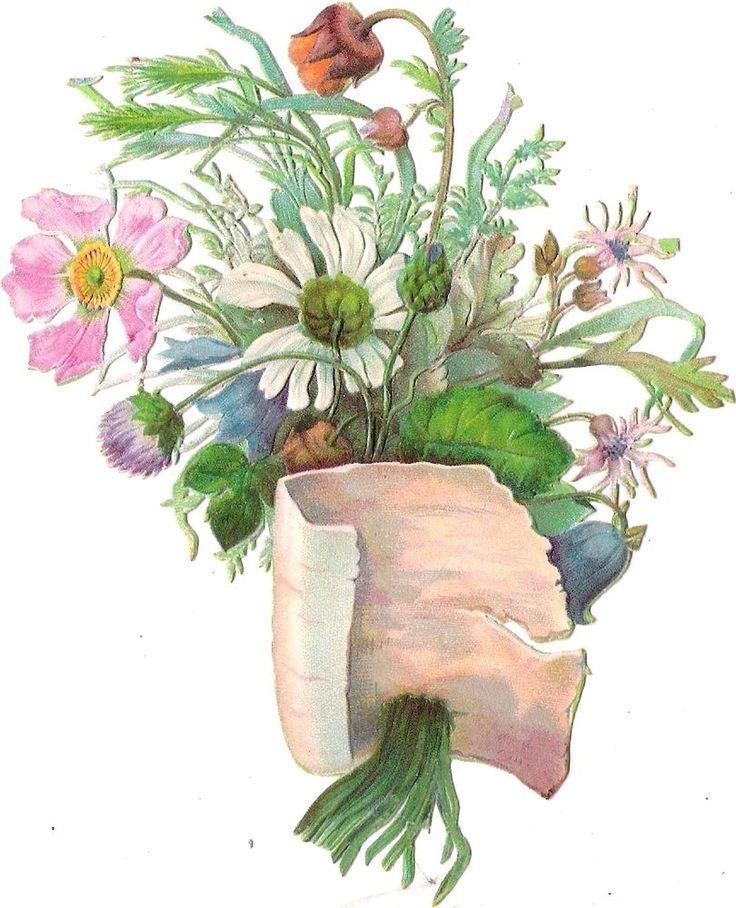 Oblaten Glanzbild scrap die cut chromo Blumen Strauß 13,5cm bouquet flower fleur
