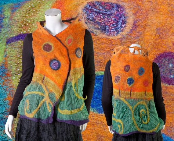 Fairytale fiber art to wear garment reversible modular vest shrug frog bee orange purple multcolor whimsy ooak Size s to L.