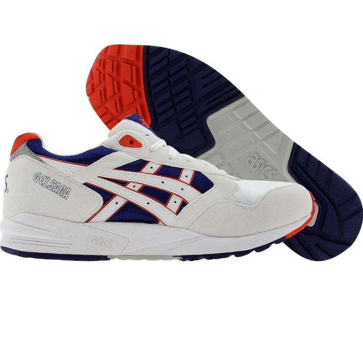 Asics Gel-Saga Mens shoes in white and royal blue
