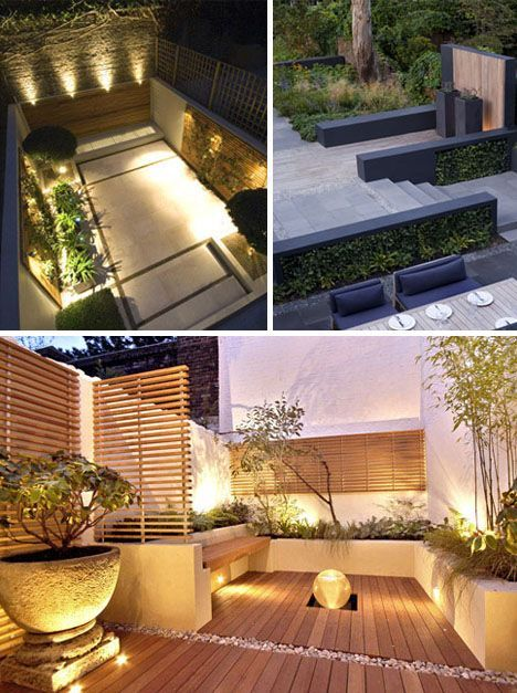 Compact outdoor courtyard. Another  great idea - perhaps additional seating though to make the most of the space! Creative use of deck and wall flush spotlights!