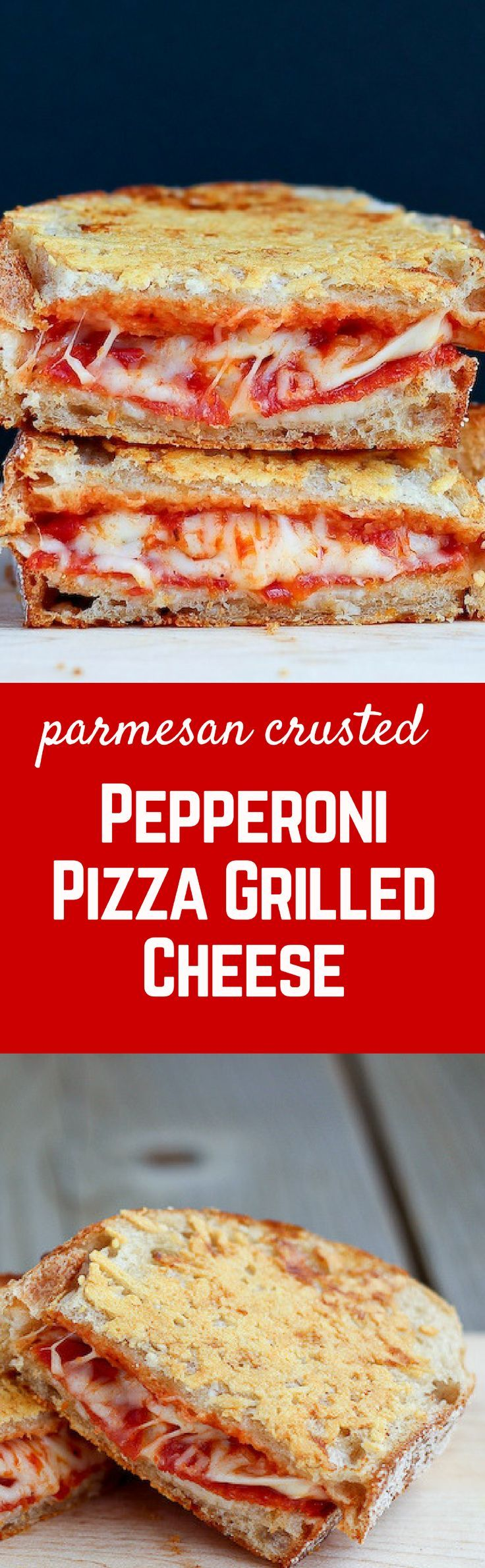 Pepperoni Pizza Grilled Cheese with a crispy parmesan cheese crust - so good you'll never go back to plain grilled cheese! Find the recipe on http://RachelCooks.com