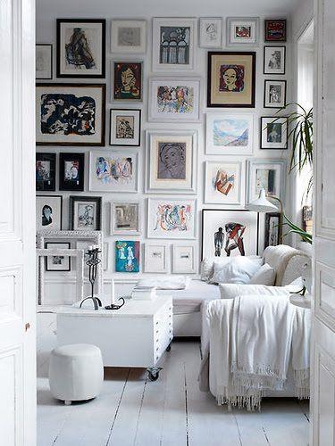 Wall of Frames.. | b-spLendidGallery Walls, Living Room, Photos Wall, Picture Walls, Gallerywall, Frames Wall, Pictures Wall, Art Wall, White Room