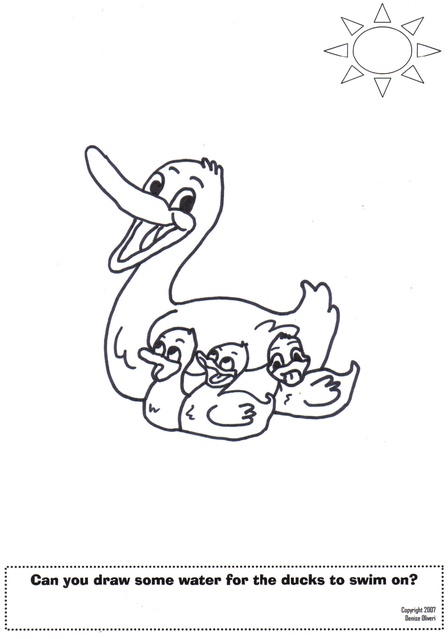 duck coloring page denise oliveri frogs fish ducks pond life theme duck pond pond. Black Bedroom Furniture Sets. Home Design Ideas