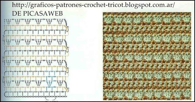 Puntos tejidos a ganchillo con sus graficos
