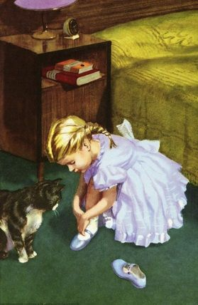 She puts on her blue shoes -The Party - LadyBird Books 1960