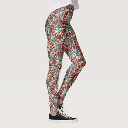 Tribal Mandala Print Red Blue and Cream Leggings - red gifts color style cyo diy personalize unique