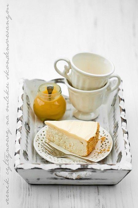 Sernik cytrynowy na mleku skondensowanym, z kremem cytrynowym