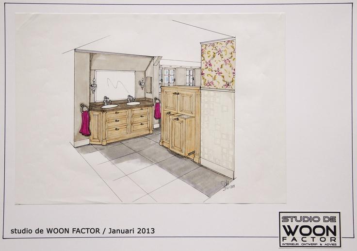 3D #ontwerptekening voor een royale #badkamer in een villa te Oosterbeek. Deze tekening laat weer een ander gezichtspunt zien van de badkamer. De meubels zijn ontworpen door studio de WOON FACTOR en worden op maat gemaakt.