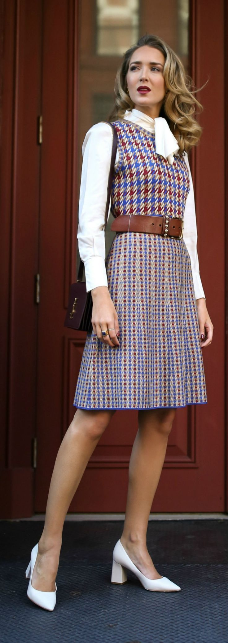 What to wear on Thanksgiving //  Blue, red and white checked knit dress, white tie-neck blouse, brown leather waist belt, white block heel pumps, suede burgundy crossbody bag {Tory Burch, YSL, fall fashion, what to wear on Thanksgiving, Thanksgiving outfit, classic fall dress, street style, classic dressing}