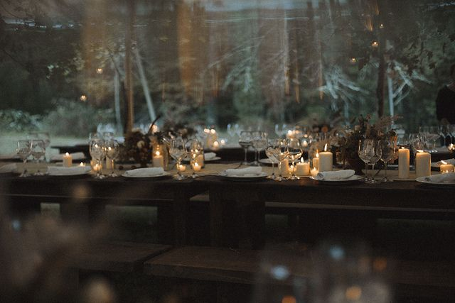 wedding in the woods table setting