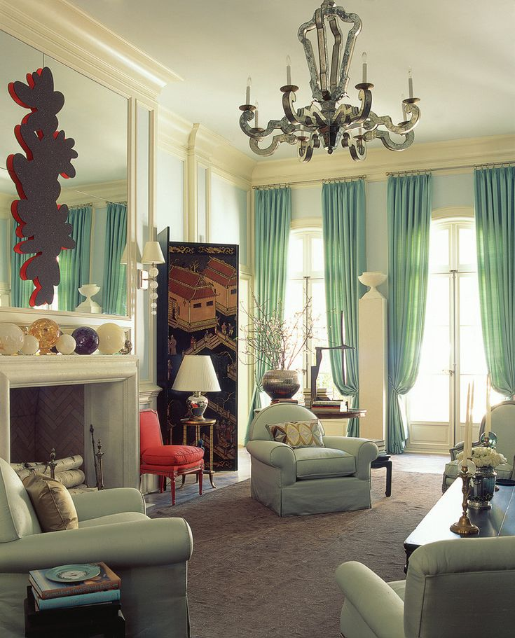 Mint Curtains Bring Fresh And Current Color Tones N An Antique Living Room