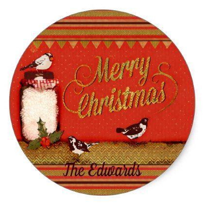 Christmas Bird Pattern Custom Name Sticker - christmas craft supplies cyo merry xmas santa claus family holidays