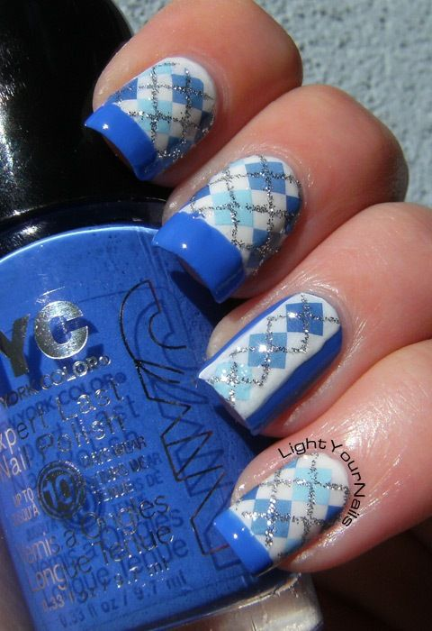 Blue, white, French and plaid pattern decals skittlette