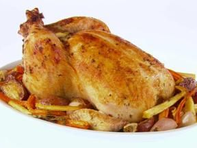 Giada's garlic roasted chicken with root vegetables. Delicious!!!