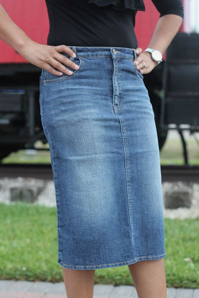 knee length denim skirt