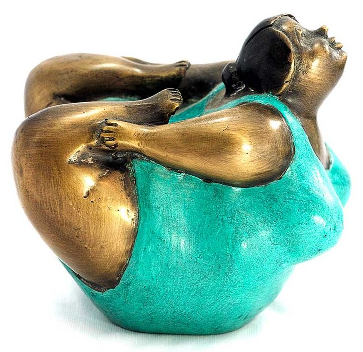 A fun and life-affirming handmade bronze statue. The Rubenesque figure bursts with energy and vitality, reminding us that health and excercise aren't reserved exclusively for people who match prevailing media images of what the human form should look like. 4.5″ height x 3.5″ width x 4.5″ length