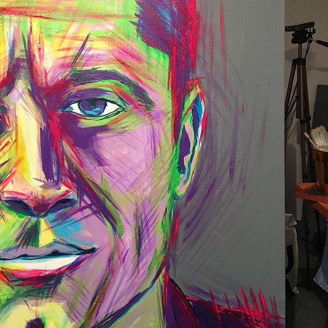 #robertlewandowski #inprogress #acrylicpainting #painting #art #colorful #impressionism