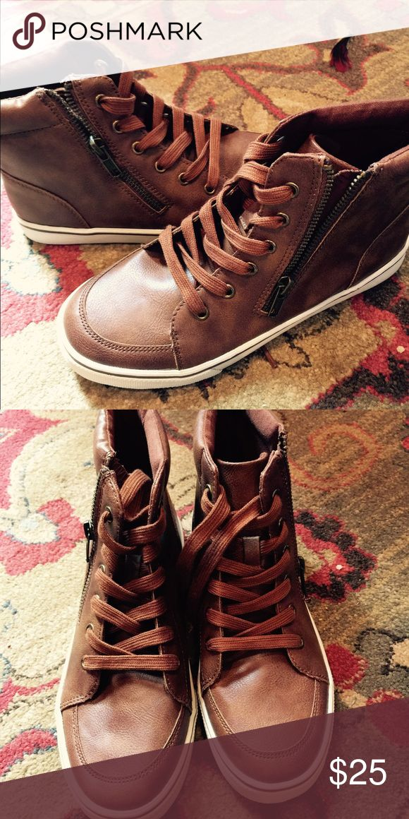 Brown sneakers These are faux leather with outside zips. Super cute. Will best fit women's size 7. Shoes