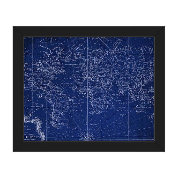 Horizon 'World Geography Map' Canvas Finish Plastic-framed Wall Art