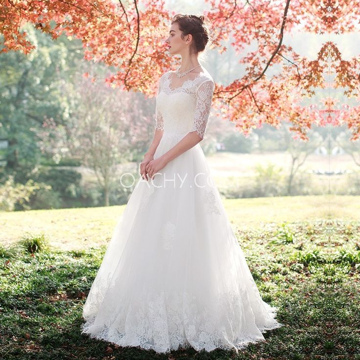 Spring 1/2 Sleeves V-Neck Appliques Sweep Train Tulle Garden Lace Up Aline/Princess White Vintage Wedding Gown - OACHY The Boutique #white, #gown, #boutique, #wedding, #neck